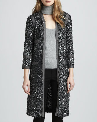 Rachel Zoe Paulie Long Sequin Jacket, Charcoal