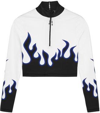 Adam Selman Sport Flame Printed Half-zip Top