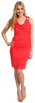 Halston S/L Draped Dress with Ruched Detail and Hardware