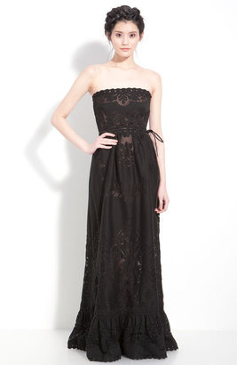 Valentino Point de Flandres Lace Strapless Gown