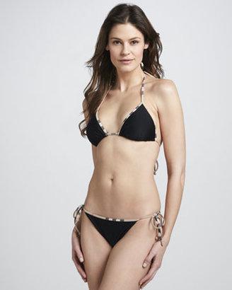 Burberry Check-Trim String Bikini, Black