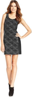 Kensie Dress, Sleeveless Lace-Print Faux-Leather Sheath