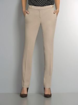 New York & Co. The 7th Avenue Slim Leg Crepe Pant with Goldtone Hardware Detail