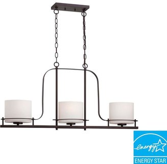 Illumine 3-Light Venetian Bronze Island Pendant with Oval Frosted Glass Shade
