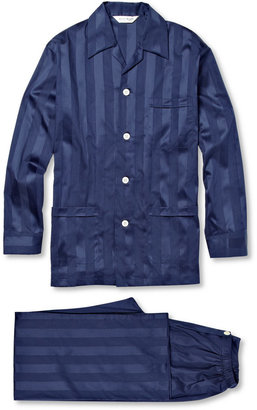 Derek Rose Lingfield Striped Cotton Pyjama Set $275 thestylecure.com
