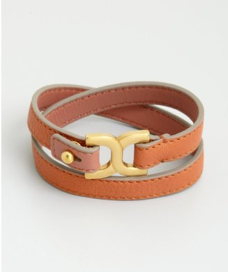 Chloé Suntan Orange Leather Buckle Wrap Bracelet