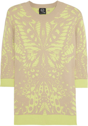 McQ by Alexander McQueen Butterfly-intarsia stretch-knit sweater