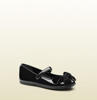 Gucci Black Patent Leather Ballet Flat