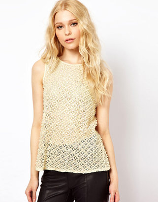 River Island Lace & Embroidered Shell Top