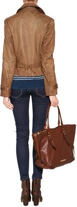 Ralph Lauren Blue Label Leather Redrock Jacket in Tan