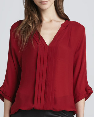 Joie Marru Pleat-Front Blouse, Regal Red