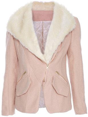 Romwe Faux Fur Lapel Zippered Pink Coat