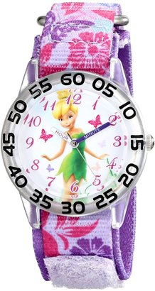 Disney Kids' W001673 Tinker Bell Time Teacher Watch With Printed Purple Band