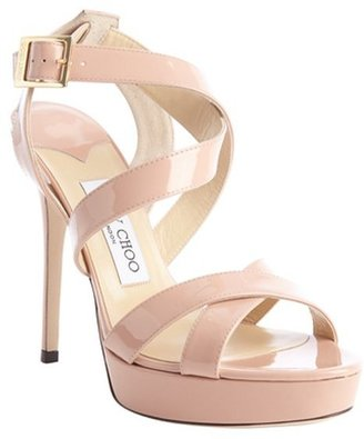 Jimmy Choo blush patent leather crisscross strappy 'Vamp' platform sandals