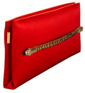 Tom Ford Two-Headed Serpent Coral Red Silk Clutch
