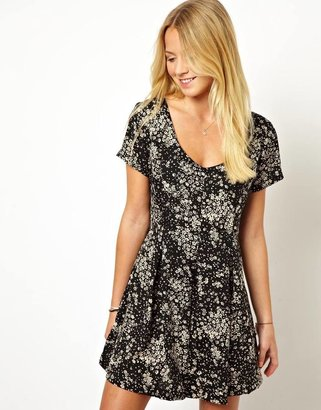 Asos Smock Playsuit in Vintage Mono Ditsy Print