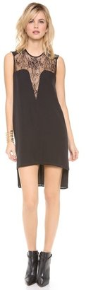 Mason by Michelle Mason Leather & Lace Shift Dress