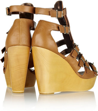 Twelfth St. By Cynthia Vincent Pacey leather wedge sandals