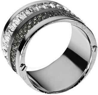 Michael Kors Multi-Stone Pave Barrel Ring, Silver Color