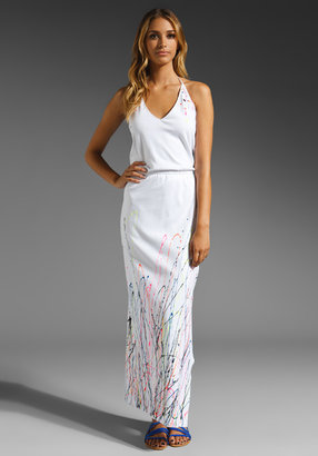 Foley + Corinna Splatter Halter Maxi Dress in White/Multi