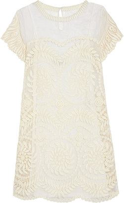 Maje Rainette embroidered silk-organza dress
