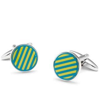 Brooks Brothers Sterling Small Stripe Enamel Cuff Links