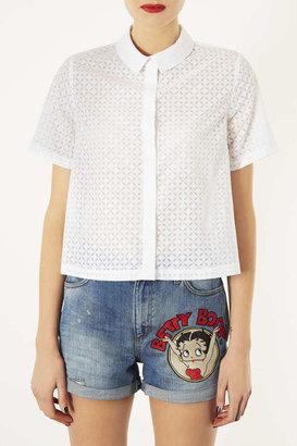 Topshop Short Sleeve Geo Burnout Shirt