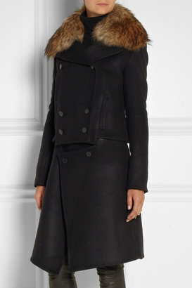 ADAM by Adam Lippes Raccoon-trimmed convertible wool-blend coat