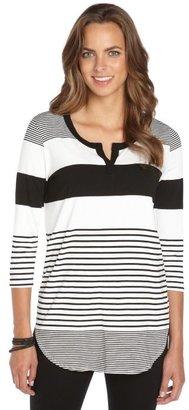 Wyatt black and white stretch striped 3/4 sleeve tunic