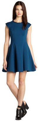 ABS by Allen Schwartz deep teal stretch knit leather trimmed cap sleeve fit and flare dress
