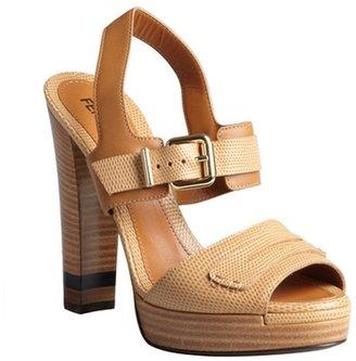 Fendi tan pebbled leather penny loafer strap platform sandals