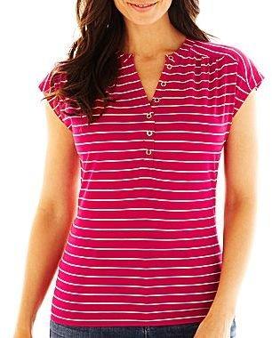 Liz Claiborne Short-Sleeve Button-Front Top