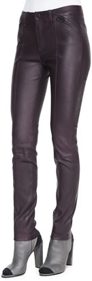 Vince Zip-Detail Leather Leggings, Mulberry