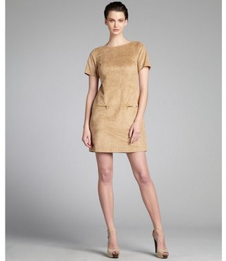 Phoebe Couture camel faux-suede short sleeve pocketed sheath dress