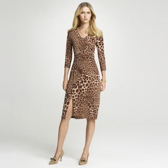 Anne Klein Leopard Print V-Neck Dress