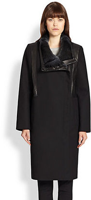 Helmut Lang Void Felt & Rabbit Fur Coat