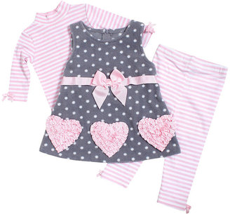 Bonnie Baby Set, Baby Girls 3-Piece Heart Applique Jumper, Top and Leggings