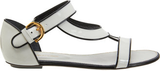 Sergio Rossi Piped Stylized Band Flat Sandal