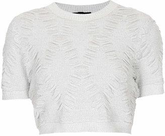 Topshop Knitted lurex quilt crop top