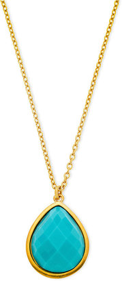 T Tahari Necklace, 14k Gold-Plated Turquoise Bead Teardrop Pendant Necklace