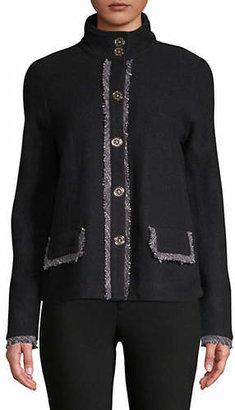 Karl Lagerfeld PARIS Funnel Neck Wool Jacket