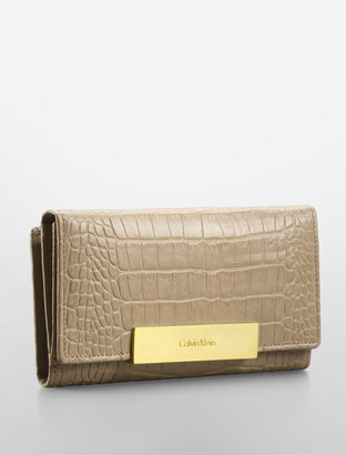 Calvin Klein Croco Embossed Leather Mega Continental Wallet