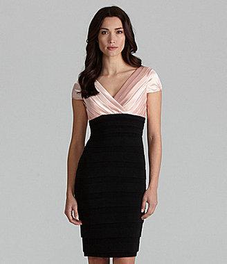 Sangria Pleated V-Neck Dress
