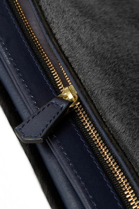 Iris & Ink Hoxton calf hair and leather foldover clutch