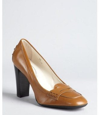 Tod's cafe au lait leather 'Jodie' penny loafer pumps