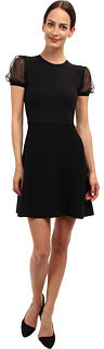 RED Valentino Knit Dr with Point d'Eprit Puff Slv Womn' Dr