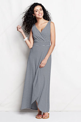 Lands' End Women's Petite Stripe Fit and Flare Maxi Dress
