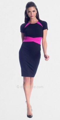 Hot Pink Black Sheath Day Dresses from NUE by Shani