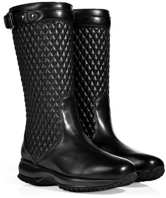 Hogan Quilted Leather Boots in Black