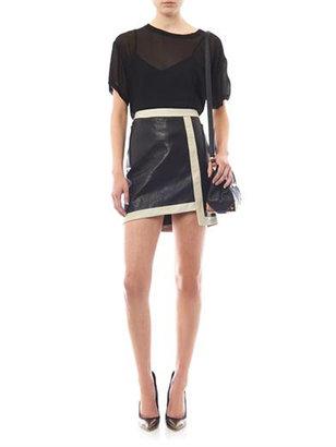 Helmut Lang Evolution contrast trim leather skirt